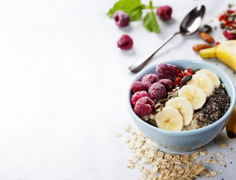 steel-cut oats quinoa granola chia seeds superfood breakfast bowl parfait recipe
