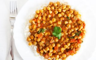 healthy vegan gluten-free chickpea curry with rice recipe
