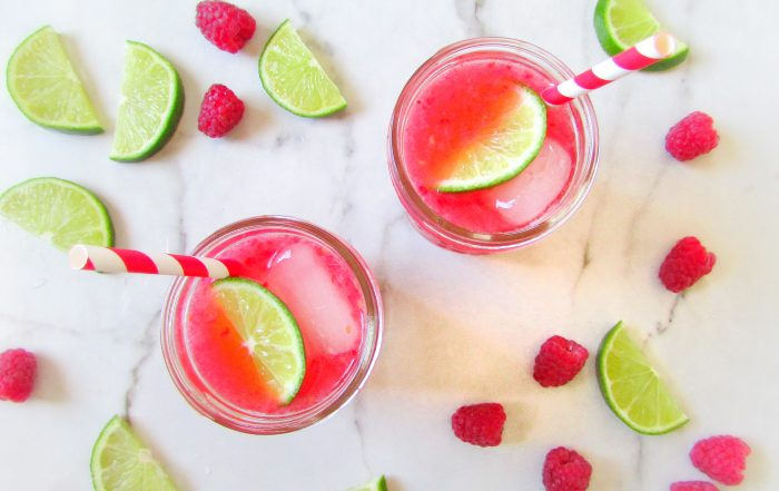 healthy raspberry lime rickey cocktail