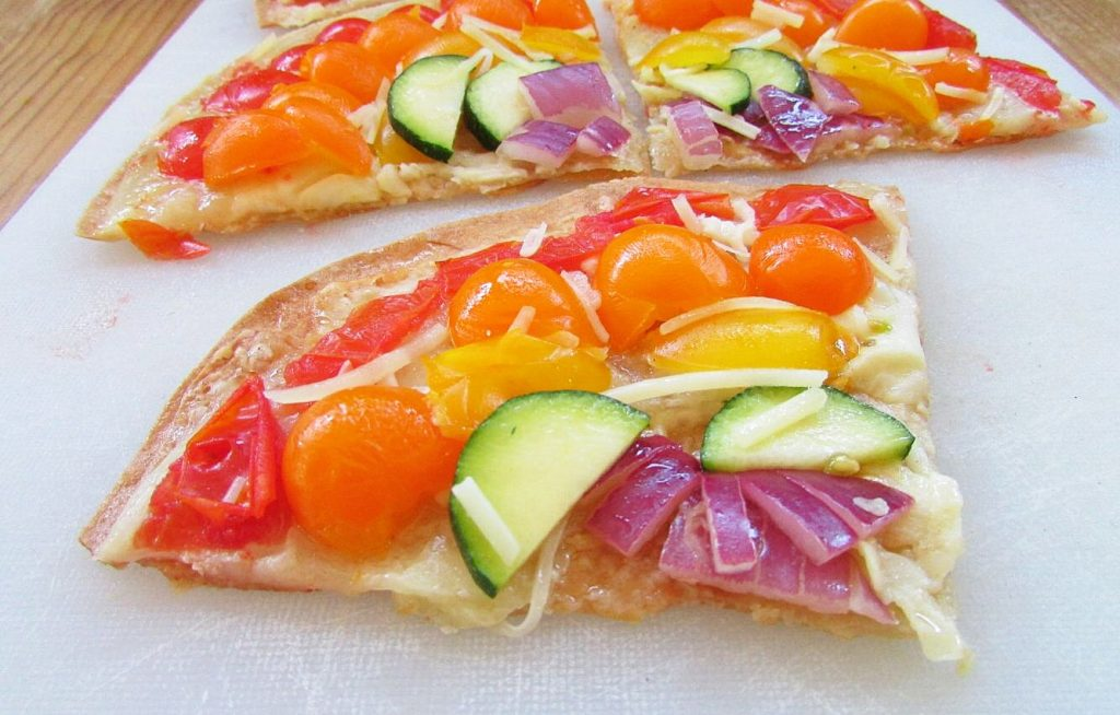 present to you, rainbow pizza. The prettiest and healthiest pizza ...