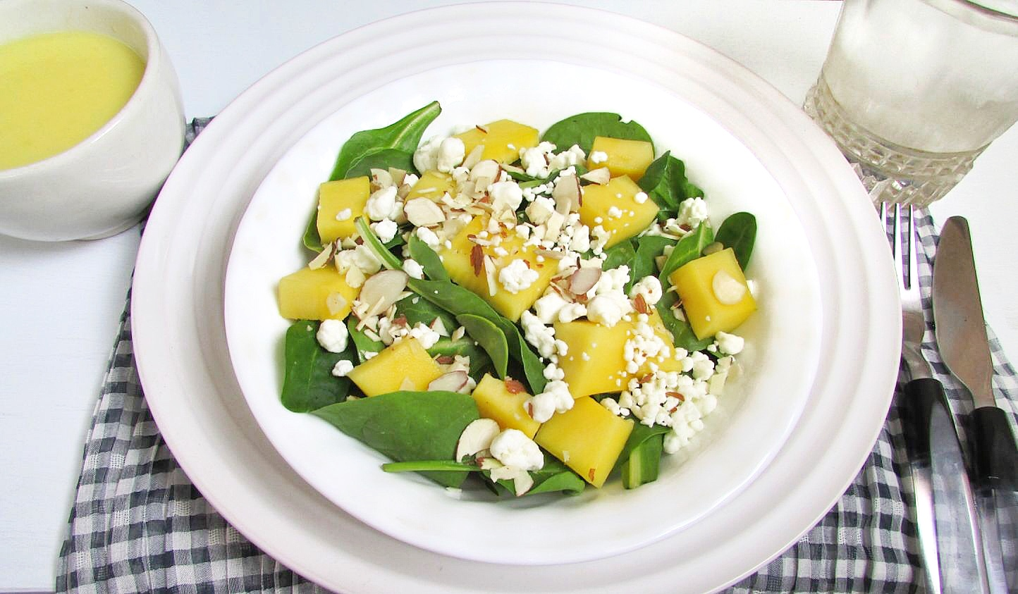 Mango and Goat Cheese Salad with Homemade Dressing