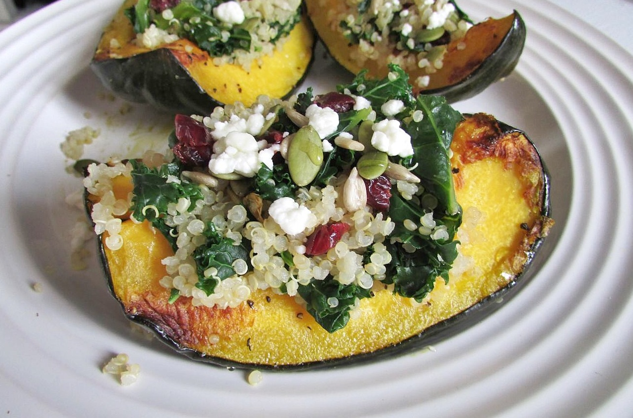 Kale & Quinoa Stuffed Acorn Squash - The Skinny Chick's Cookbook