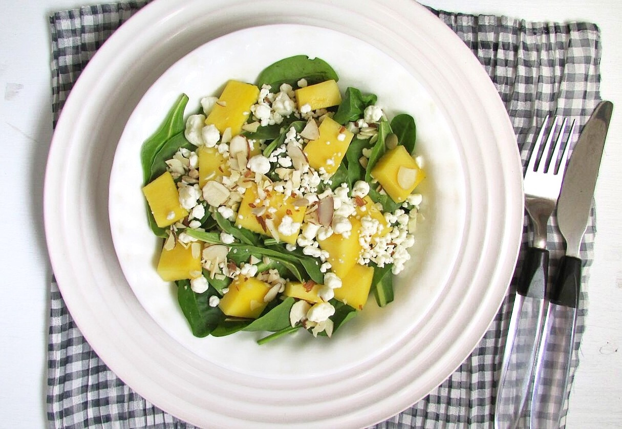 Mango and Goat Cheese Salad with Homemade Dressing - The Skinny Chick ...