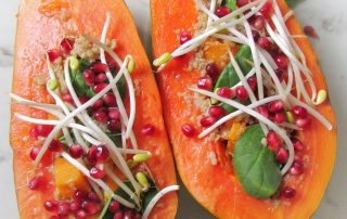 baked stuffed papayas recipe vegan gluten-free
