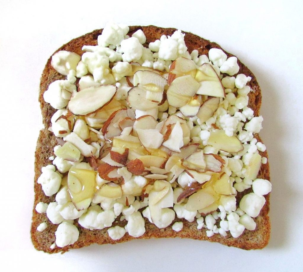 honey almond goat cheese toast